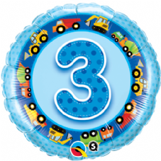 3rd Birthday Diggers Blue Foil Balloon